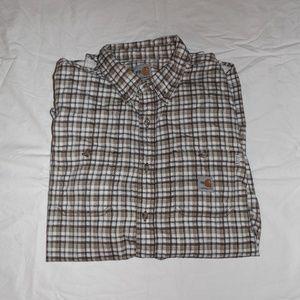 Carhartt FR XL Brown/White Button Flannel